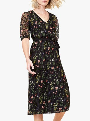 Oasis Floral Lace Midi Dress, Black