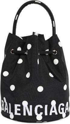 Balenciaga Xs Wheel Printed Nylon Bucket Bag