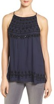 Lucky Brand Women's Embellished Knit Back Top