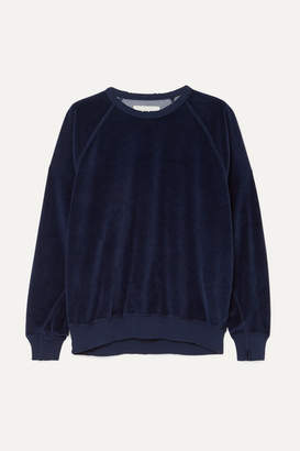The Great The College Cotton-blend Velour Sweatshirt - Navy