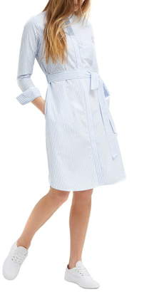 French Connection Leondra Stripe Long Sleeve Cotton Shirtdress