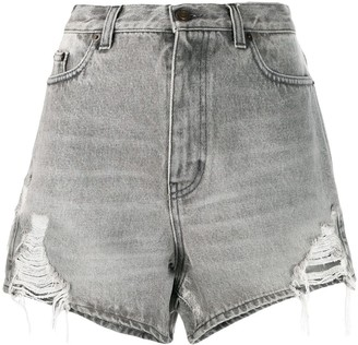 Saint Laurent Distressed Denim Shorts