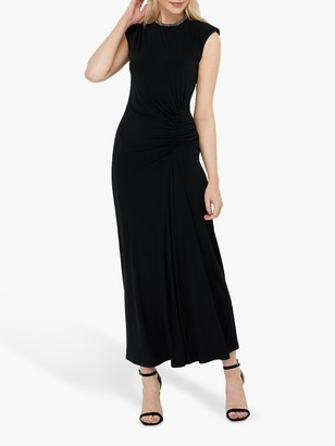 Monsoon Melissa Beaded Neckline Maxi Dress, Black