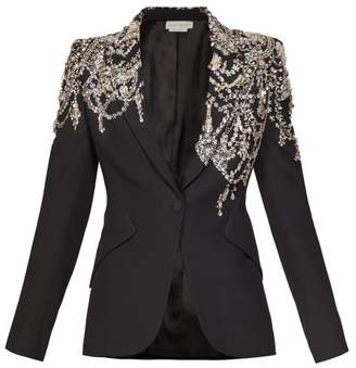 Alexander McQueen Crystal Embellished Single Breasted Crepe Blazer - Womens - Black