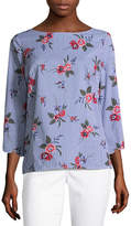 Liz Claiborne 3/4 Sleeve Scalloped Hem Shirt