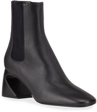 Jil Sander Leather Sculpted Block-Heel Ankle Boots