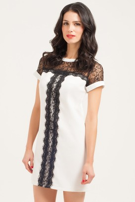 Girls On Film Paper Dolls White & Black Lace Panel Shift Dress