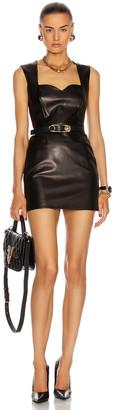 Versace Leather Mini Dress in Black | FWRD