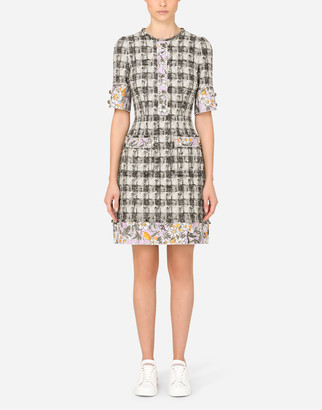 Dolce & Gabbana Short Tweed Dress With Jacquard Details