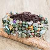 Jasper and Amethyst Beaded Wristband Bracelet from Thailand, 'Boho Nature'
