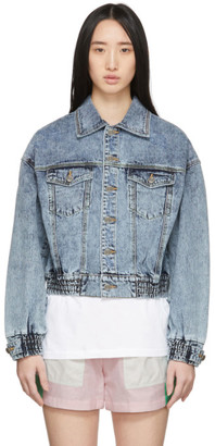 Sjyp Blue Denim Short Color Stitch Jacket