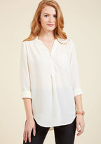 ModCloth Pam Breeze-ly Long Sleeve Tunic in Ivory in 1X