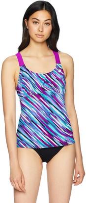 ZeroXposur ZeroXposure Womens Wide Strap Tankini Top Sport Swimsuit Swimwear Tank Top Beet 16W
