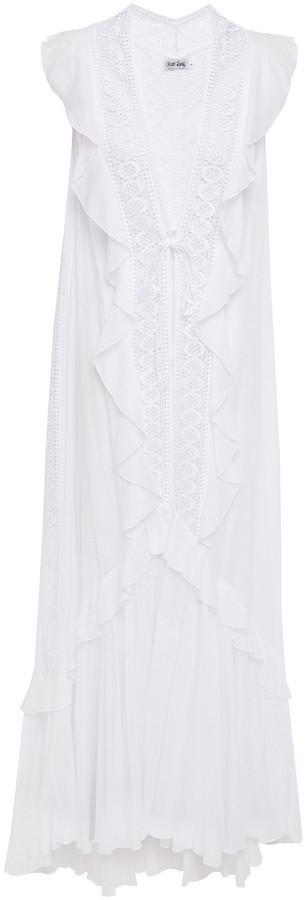 Charo Ruiz Ibiza Petra Crochet-paneled Cotton-blend Voile Vest
