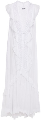 Charo Ruiz Ibiza Lace-trimmed Ruffled Cotton-blend Mousseline Vest