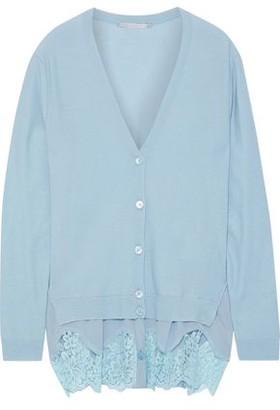 Stella McCartney Crepe De Chine-paneled Wool Cardigan