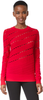 Prabal Gurung Solid Cable Crew Neck Knit Sweatshirt