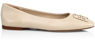 Tory Burch Georgia Square-Toe Leather Ballet Flats