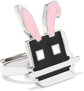McQ by Alexander McQueen Silver-plated enamel ring