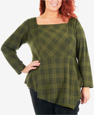 NY Collection Plus Size Plaid Asymmetrical Ponte-Knit Top