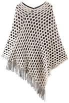 NOVAWO Womens Double Layer Tassel Poncho Cape Shawls Batwing Knit Sweater Cloak