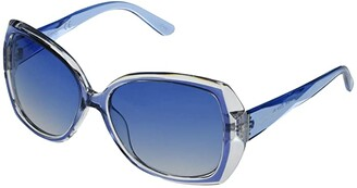 Jessica Simpson Oversized Cut Crystal Plastic (Blue) Fashion Sunglasses