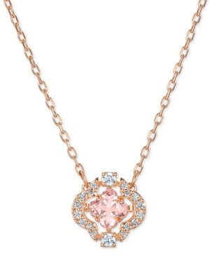 "Swarovski Rose Gold-Tone Crystal Flower Pendant Necklace, 14-7/8"" + 2"" extender"