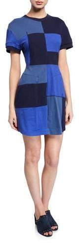 Derek Lam 10 Crosby Patchwork Short-Sleeve T-Shirt Dress