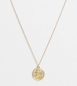ASOS DESIGN Curve 14k gold plated necklace with coin pendant