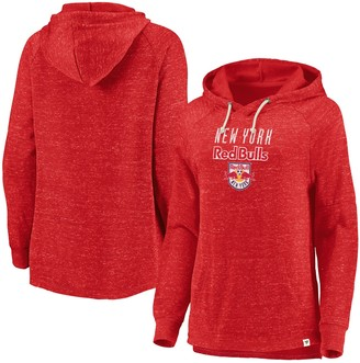 Women's Fanatics Branded Red New York Red Bulls Faded Script Pullover Hoodie