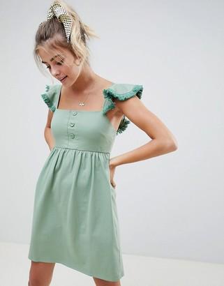 Asos DESIGN mini smock dress with tassel frill sleeve