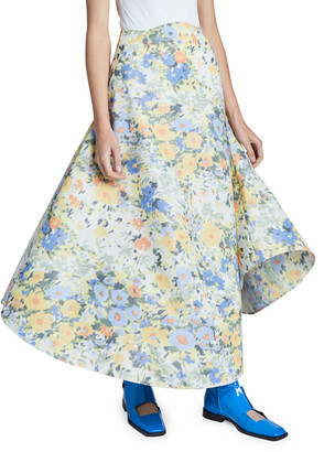 Nina Ricci Floral-Print Midi Skirt