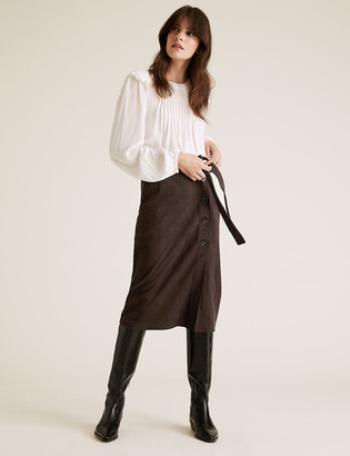 Marks and Spencer Suedette Tie Waist Midi A-Line Skirt