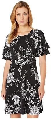 Karen Kane Ruffle Sleeve Dress (Print) Women's Clothing