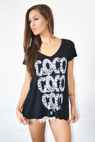 Lauren Moshi Coco Short Sleeve Swingier V-Neck Tee in Black