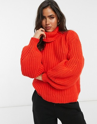 Y.A.S chunky roll neck jumper in red