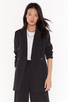 Nasty Gal Womens UnfinishedBusinessPinstripe Double Breasted Blazer - Black - 6