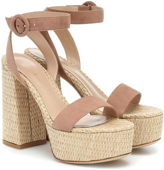 Gianvito Rossi Raffia and suede platform sandals