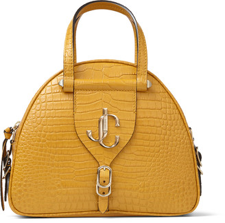 Jimmy Choo VARENNE BOWLING/S Ocra Croc-Embossed Leather Bowling Handbag with JC Emblem