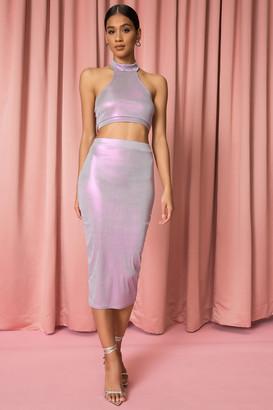 superdown Iridescent Midi Skirt Set