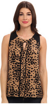 Vince Camuto Animal Dashes S/L Center Seam Blouse