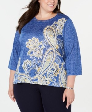 Alfred Dunner Plus Size Lake Tahoe Printed Cutout Top