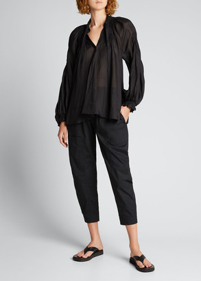 Lee Mathews Soma Balloon-Sleeve Blouse