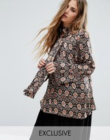 Reclaimed Vintage Flare Sleeve Shirt In Silky Animal Print