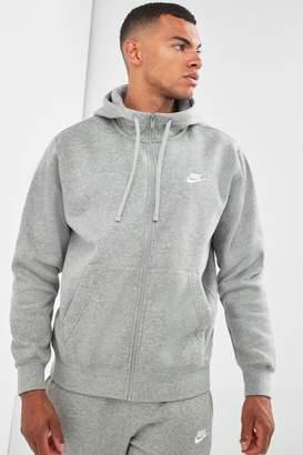 Nike Mens Club Zip Through Hoody - Grey