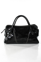 Hogan Black Coated Leather Silver Tone Studded Satchel Handbag