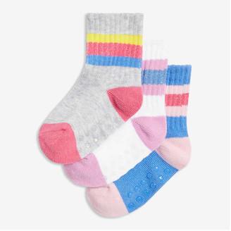 Joe Fresh Baby Girls' 3 Pack Lurex Stripe Socks, Light Grey (Size 0-12)