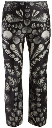 Alexander McQueen Shell Print Wool Blend Satin Twill Trousers - Womens - Black White