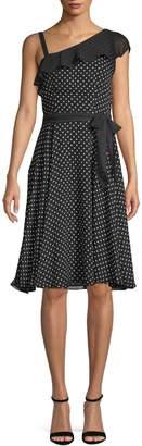 Gabby Skye One-Shoulder Dotted Dress