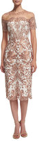 Marchesa Short-Sleeve Embroidered Cocktail Dress
